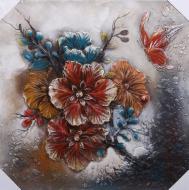 Картина Цветы оранжевые 80x80 см