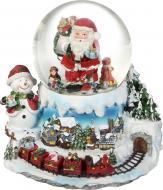Декорація новорічна Куля музична Дід Мороз біля потягу 12 см ZY17519K