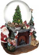 Декорація новорічна Куля музична Дід Мороз біля каміну 12 см ZY17517K