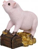 Декорація новорічна Сувенір Свинка на скрині 5,8 см ZY2178A