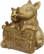 Декорація новорічна Сувенір-скарбничка Свинка для достатку 9,5х11,3 см ZY0917111A-G