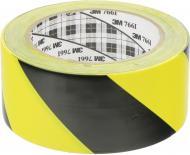 Клейка маркувальна ПВХ стрічка жовто-чорна каучуковий адгезив 0,125х50 мм 33 м