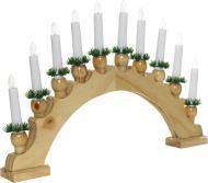 Декорація новорічна Гірлянда Різдвяні свічки на дерев'яній підставці BIE1010