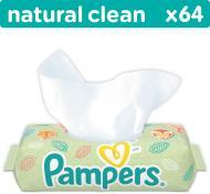 Дитячі вологі серветки Pampers Natural Clean 64 шт.