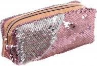 Пенал с пайетками 18x7,5x6 см розово-серебристый