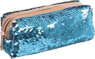 Пенал з паєтками 18x7,5x6 см блакитно-сріблястий