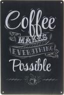 Табличка жестяная печатная Coffee 30x20 см черный матовый