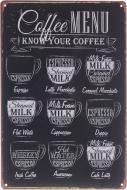 Табличка жестяная печатная Coffee Menu 30x20 см черный матовый