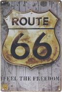 Табличка жестяная печатная Route 66 30x20 см разноцветный