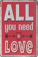 Табличка жестяная печатная All love 30x20 см разноцветный