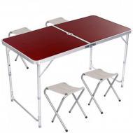 Стол для пикника раскладной со стульями Folding Table (2 режима высоты) Коричневый (mt-229)