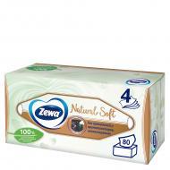 Серветки паперові у коробці Zewa Natural Soft косметичні чотиришарові 80 шт.