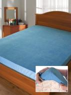 Простынь на резинке Дизайн 12 (махровое) 200x90 см голубой Ярослав