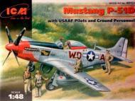 Збірна модель ICM винищувач США Мустанг Р-51 Д з пілотами і техніками 1:48