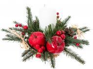 Композиція новорічна зі свічкою, хвоєю, ягодами, яблуками та шишками 25x25 см