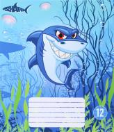 Тетрадь школьная 12 листов в клетку Shark
