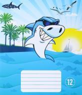 Зошит шкільний 12 аркушів у лінію Shark