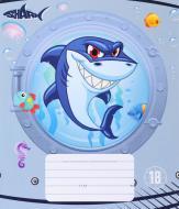 Зошит шкільний 18 аркушів у клітинку Shark