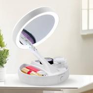 Косметическое сенсорное зеркало с LED подсветкой для макияжа Fold (RN 682)