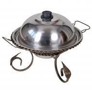 Подставка для подогрева мяса Садж с коваными элементами 360 мм + крышка (РК-1090-110)
