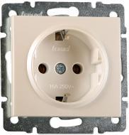 Розетка с заземлением Lezard Rain без шторок жемчужно-белый 703-3088-122В