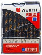 Набор сверл по металлу WURTH d1xRED LINE HSS DIN338, 1.0-10.0 мм, 19 шт. 06247001