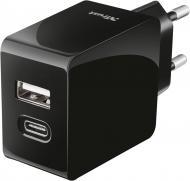 Сетевое зарядное устройство Trust Urban Fast Dual USB-C & USB 17W Black (21589)