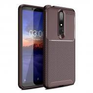 Чехол Carbon Case Nokia X3 / Nokia 3.1 Plus Коричневый (hub_PDDy26105)
