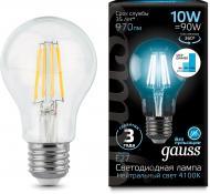 Лампа світлодіодна Gauss FIL Step Dim A60 10 Вт E27 4100 К 220 В прозора 102802210-S