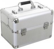 Бьюти-кейс для косметики серебряный 37,5х25х26 см