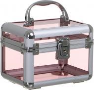 Кейс для косметики прозрачно-розовый 15х11х11 см
