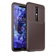 Чехол Carbon Case Nokia X5 / Nokia 5.1 Plus Коричневый (arbc4556)
