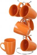 Набір чашок Orange 6 шт. на металевій підставці Bella Vita