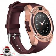 Смарт-часы UWatch V8 Bluetooth умные часы с камерой FMрадио и поддержкой SIM карты Золотой + карта п