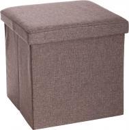 Ящик-пуф складаний текстильний коричневий 380x380x380 мм