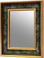Дзеркало X4 QD943-681 в золотисто-зеленій багетній рамі 34х44 см