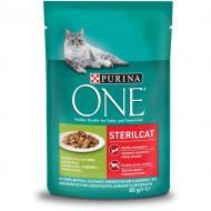 Корм для кастрованих котів/стерилізованих кішок ONE Sterilcat з індичкою й зеленою квасолею 85 г