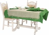 Комплект столовий Рогожка 2 скатертини та 8 серветок зелений Галерея льону