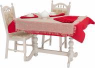 Комплект столовий Рогожка 2 скатертини та 8 серветок червоний Галерея льону