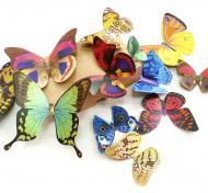 Декоративна наліпка Design stickers 3D метеликів різнокольорових для декору самоклеючих з картону 12 шт. 15x15 см