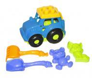 Трактор Кузнечик №2 с песочным набором синий Colorplast (0213)