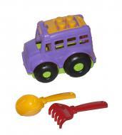 Автобус Бусик №1 + лопатка и грабельки фиолетовый Colorplast (0084)