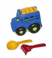 Автобус Бусик №1 + лопатка и грабельки синий Colorplast (0084)