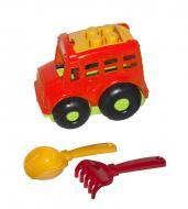Автобус Бусик №1 + лопатка и грабельки красный Colorplast (0084)