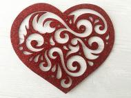Декоративний виріб Мереживне серце червоне 12x16 см 125104 Діамантові ручки