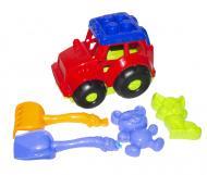 Трактор Кузнечик №2 с песочным набором красный Colorplast (0213)
