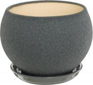 Горшок керамический Ориана-Запорожкерамика Шар шелк металлик круглый 4,1л серый (037-1-129)