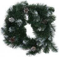 Вінок новорічний з шишками зелено-білий d400 мм EP60105