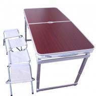 Стол для пикника Усиленный раскладной со стульями 4life 120х60х55/60/70 см (3 режима высоты) Коричне