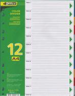 Розділювач пластиковий кольоровий А4 12 шт. PP 4-254 4Office